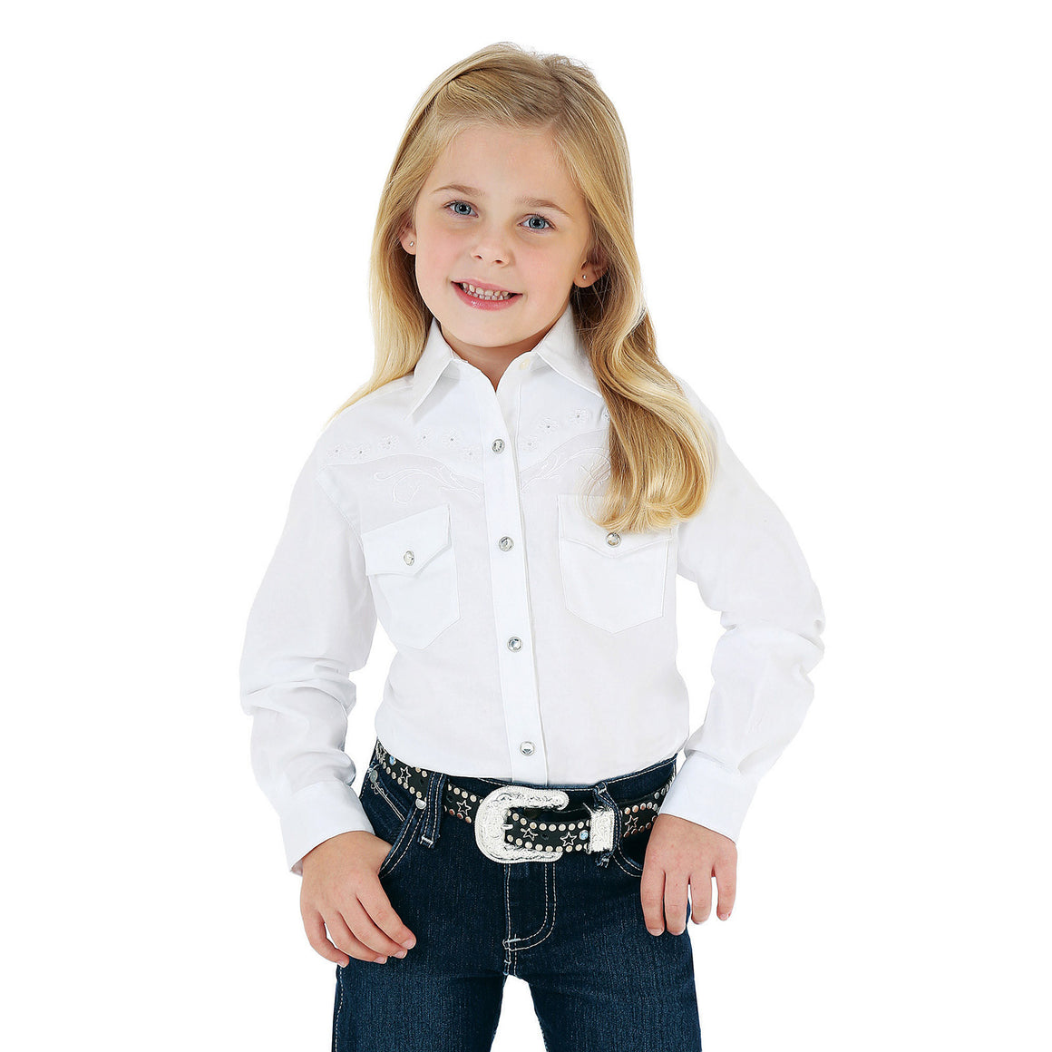 Wrangler® Long Sleeve Solid Shirt with Rhinestones/Embroidery - White - Kerlin's Western and Work Wear