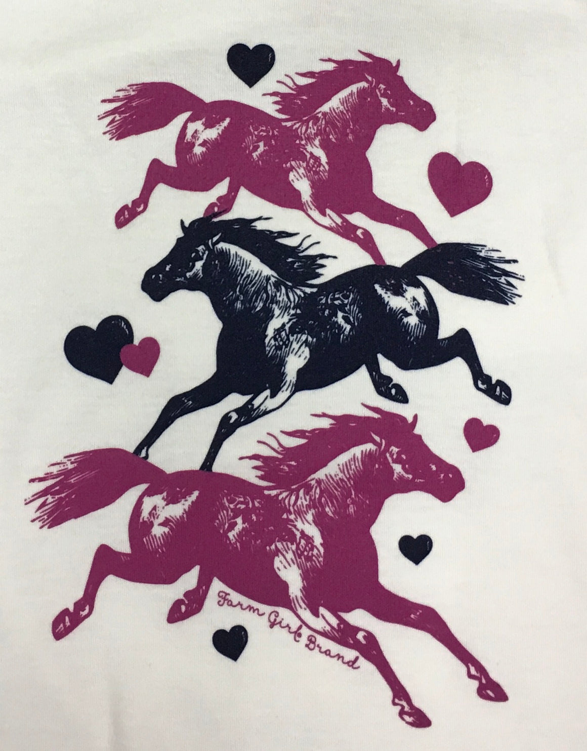 Farm Girl Running Horses Ivory Tee