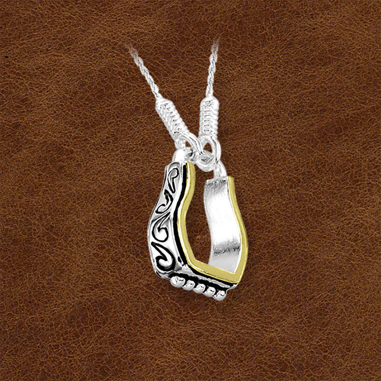 Kelly Herd Sterling Silver Engraved Stirrup Pendant