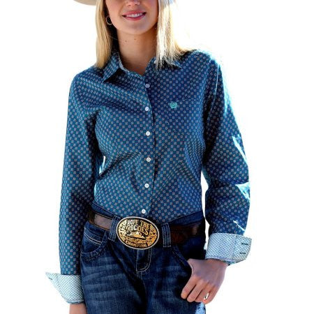 Cinch Western Shirt Womens Long Sleeve Logo Button Teal