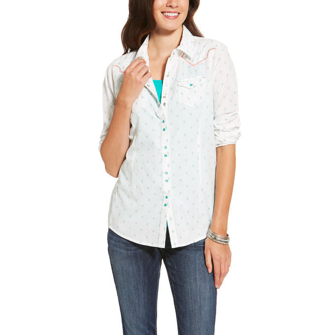 Ariat Women's Grand Long Sleeve Snap White/Multi