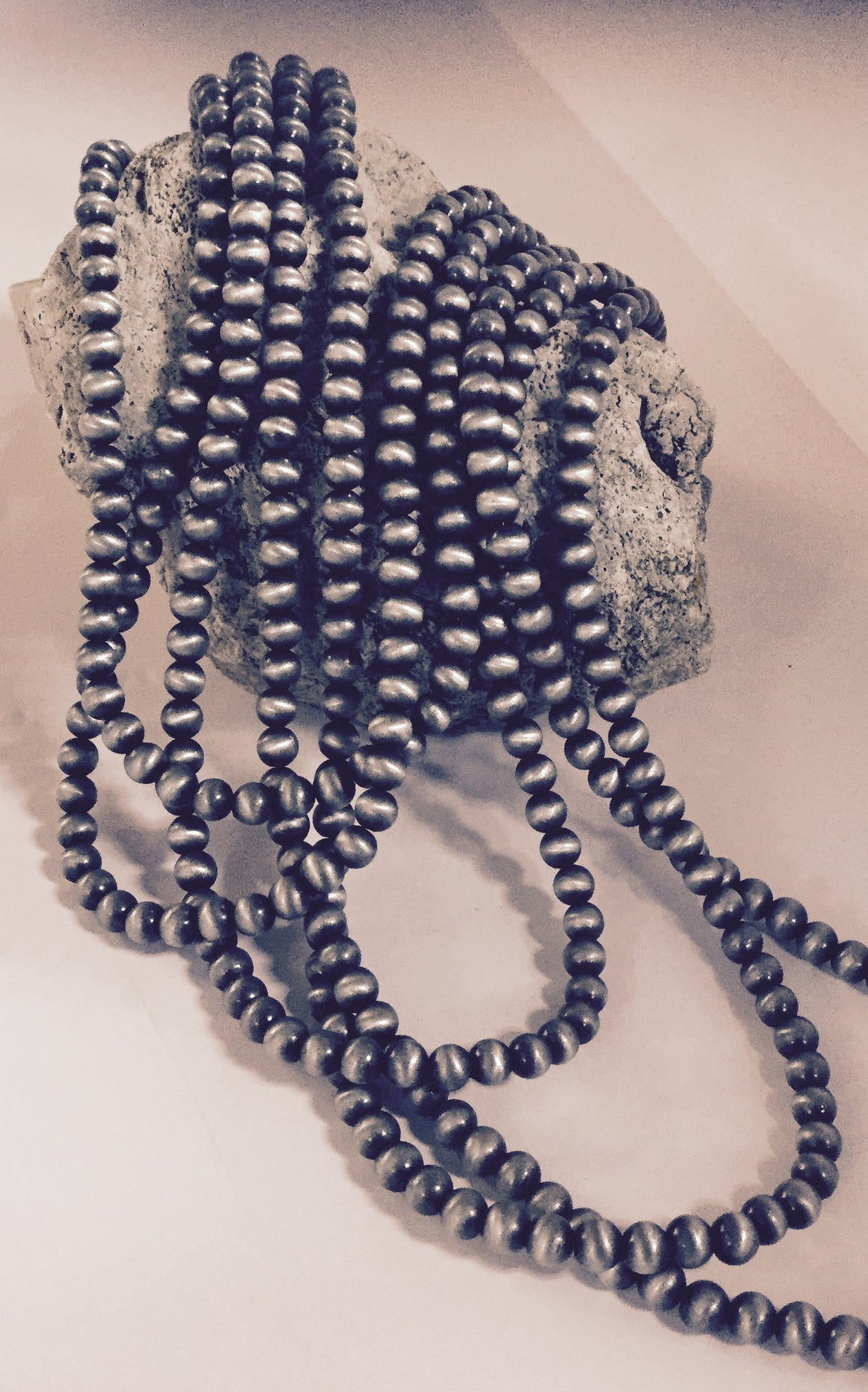 Five Strand Silver Beaded Necklace