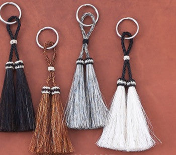 Horse Hair Key Chain with Dual Loop Crotched Accent