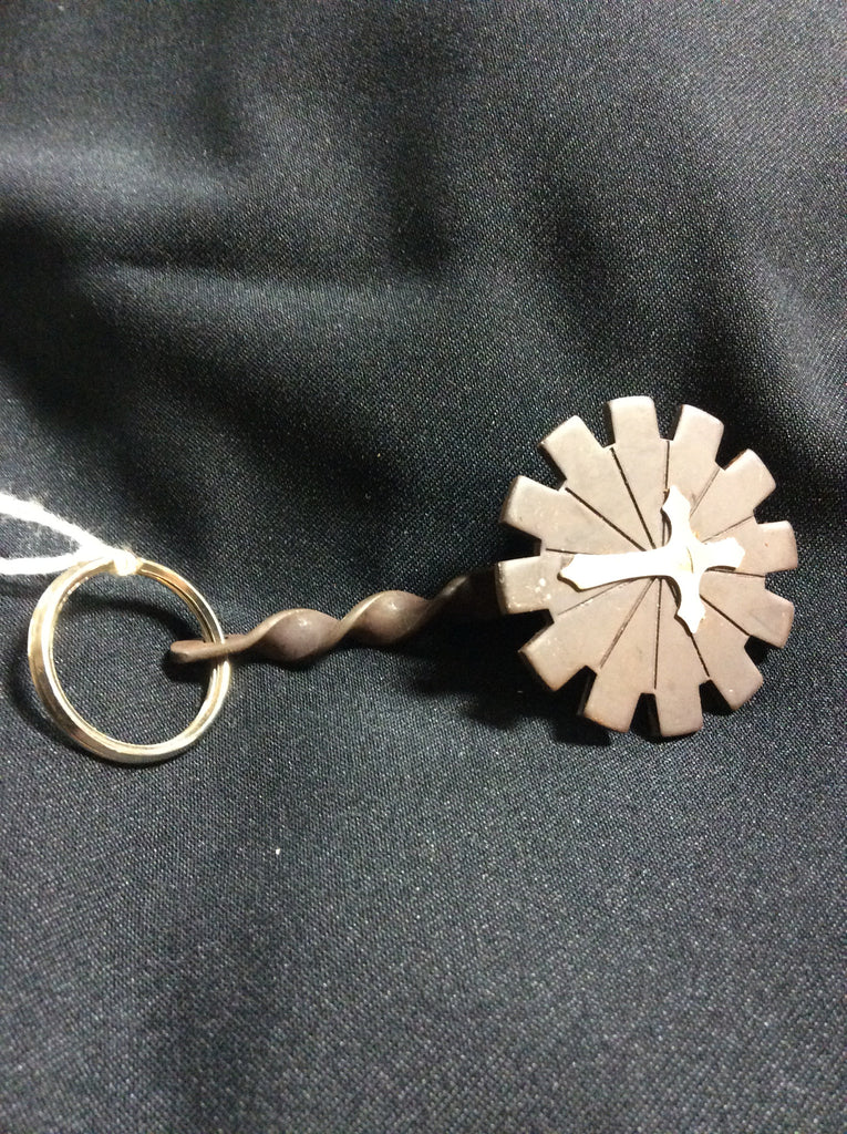 Key Chain Concho Antique Brown in Rowel Design with Cross - Kerlin's Western and Work Wear