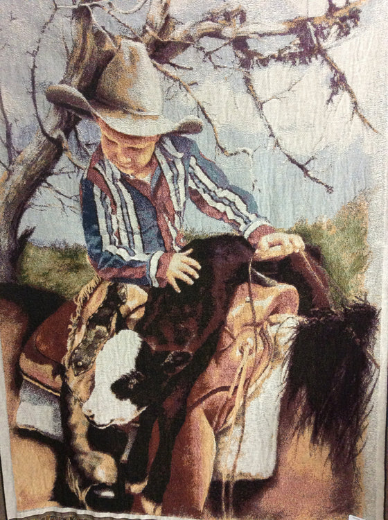 Little Boy On Horse With Calf Over Saddle Throw - Kerlin's Western and Work Wear