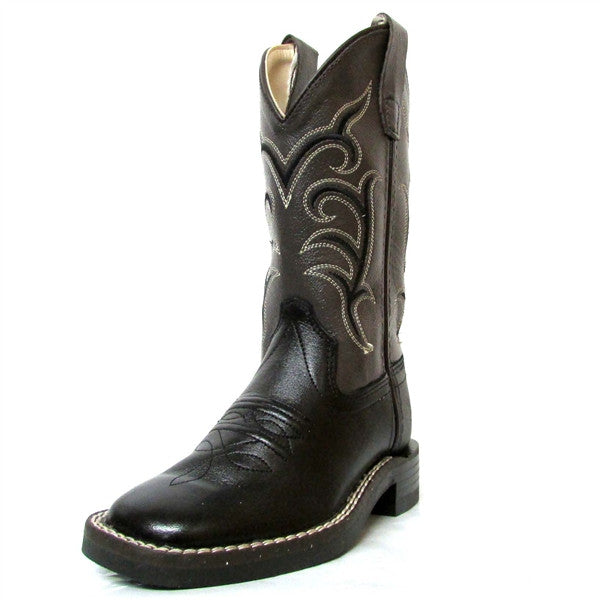 Old West Child Black Square Toe Boots - Youth - Kerlin's Western and Work Wear