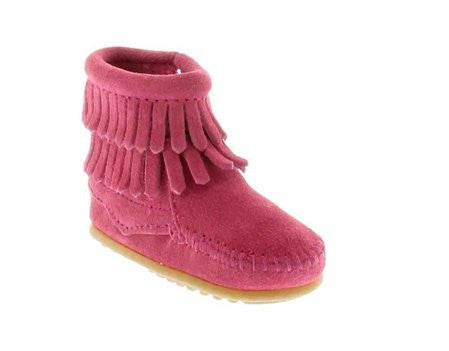 Minnetonka Infants Double Fringe Bootie - Hot Pink Suede - Kerlin's Western and Work Wear