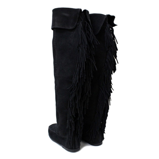 Minnetonka Over -The - Knee Fringed Boot  Mocassin - Kerlin's Western and Work Wear