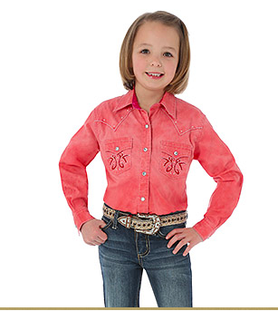 Rock 47® by Wrangler® Wrangler Girls' Long Sleeve One Point Front and Back Yokes with Stone/Embroidery Solid Shirt - Coral - Kerlin's Western and Work Wear  - 1