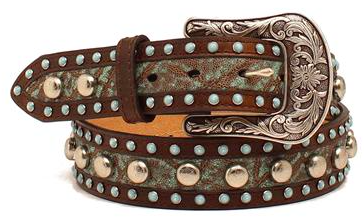Ariat Western Womens Belt Turquiose Embroidered Brown - Kerlin's Western and Work Wear