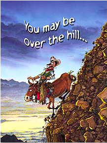 Birthday Card:  Cowboy on ass, down steep rocky hill - Kerlin's Western and Work Wear