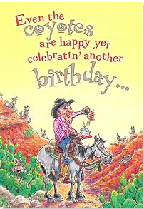Birthday Card:  It's Easier To Separate The Old and Feeble From the Herd! - Kerlin's Western and Work Wear