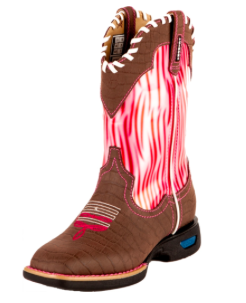 CINCH Work Boots Girls WRX Kids Cowboy Leather Chocolate Pink - Kerlin's Western and Work Wear  - 1