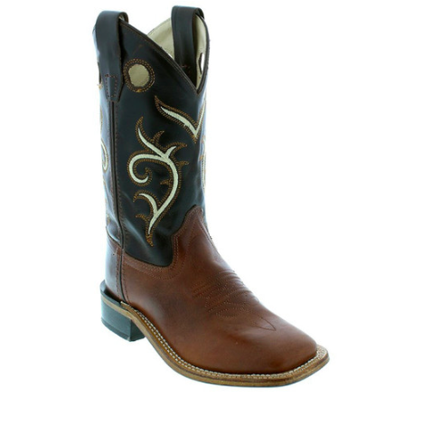 Old West Brown and Dark Tan Square Toe Boots - Youth - Kerlin's Western and Work Wear