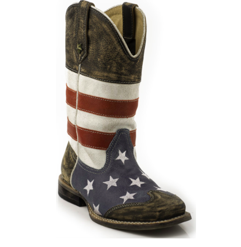 Roper Western Square Toe American Flag Boot Kids - Kerlin's Western and Work Wear