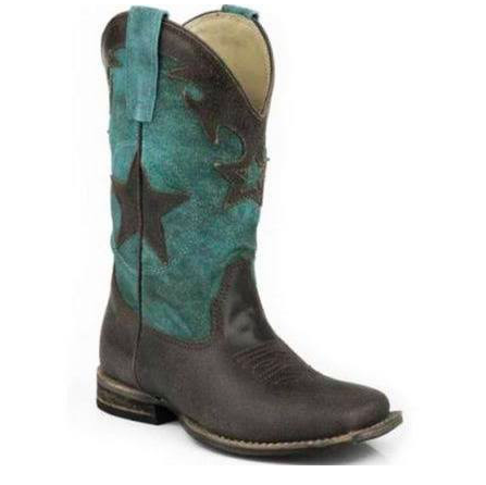 Roper Western Boots Star Crackle Brown Youth - Kerlin's Western and Work Wear