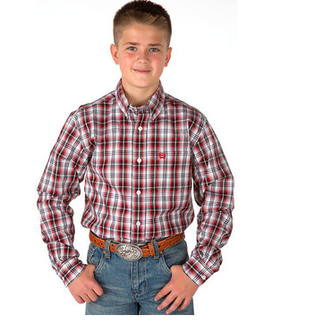 Cinch Boy's Red Plaid Shirt - Kerlin's Western and Work Wear  - 1