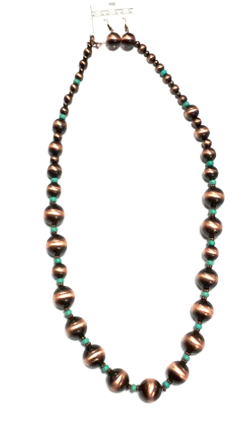 Bronze and Turquoise Beaded Necklace - Kerlin's Western and Work Wear