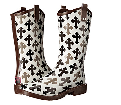 Blazin Roxx Black/White Cross Rain Boot - Kerlin's Western and Work Wear  - 1