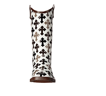 Blazin Roxx Black/White Cross Rain Boot - Kerlin's Western and Work Wear  - 6