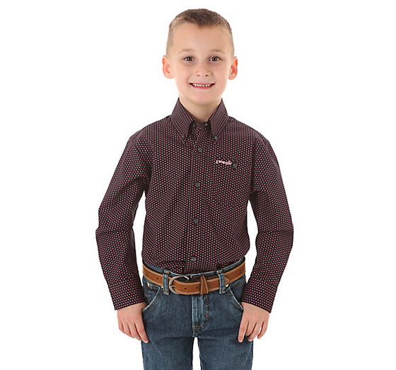 Wrangler Boy's Tough Enough to Wear Pink Polka Dot Shirt