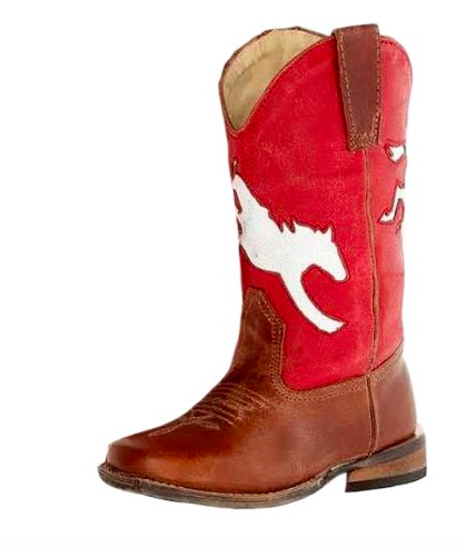 Roper Western Boots Boy Bronco Inlay Leather Brown