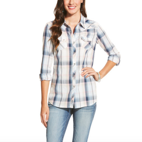 Ariat Ladies L/S Blue/Ivory Plaid Snap Shirt