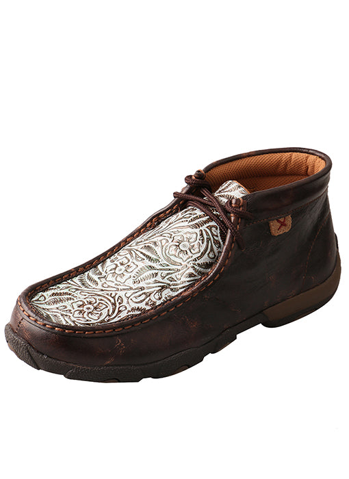 Twisted X Driving Moccasins Embossed Brown/Turquoise Print