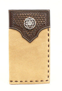Ariat Basket Weave Rodeo Wallet/Checkbook Cover with Concho