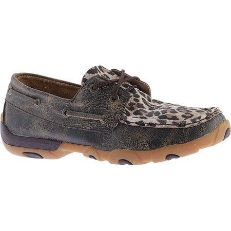 Twisted X Women's Distressed Leopard Driving Moccasin