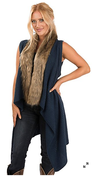 Ariat Blue Crochet with Fur Trim Sweater Vest
