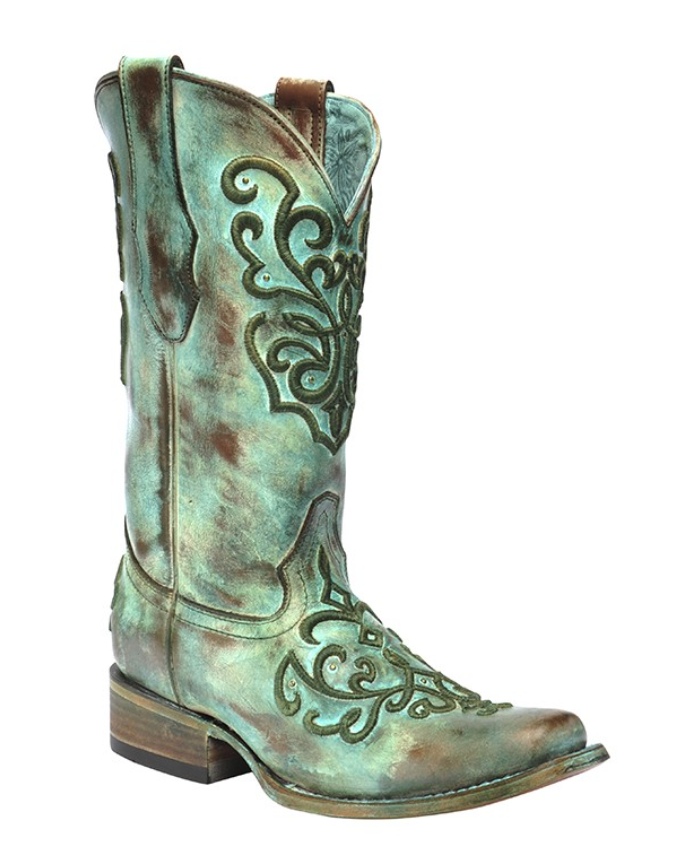 Corral Tan and Turquoise Cord Stitch Square Toe Boots