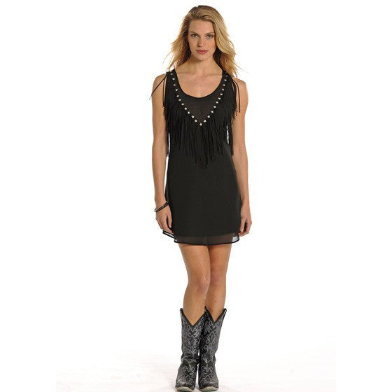 Rock & Roll Cowgirl™ by Panhandle Slim® Solid Dress with Fringe - Kerlin's Western and Work Wear  - 1