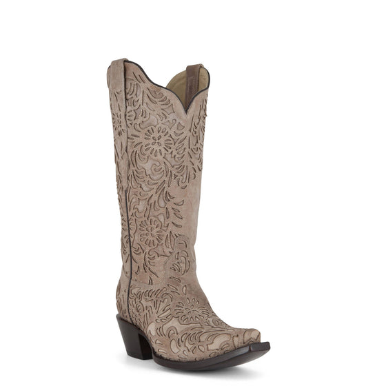 Women's Corral Boots Bone Embroidery