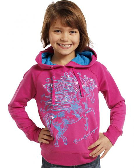Rock & Roll Cowgirl Girls' Glitter Horse Hoodie