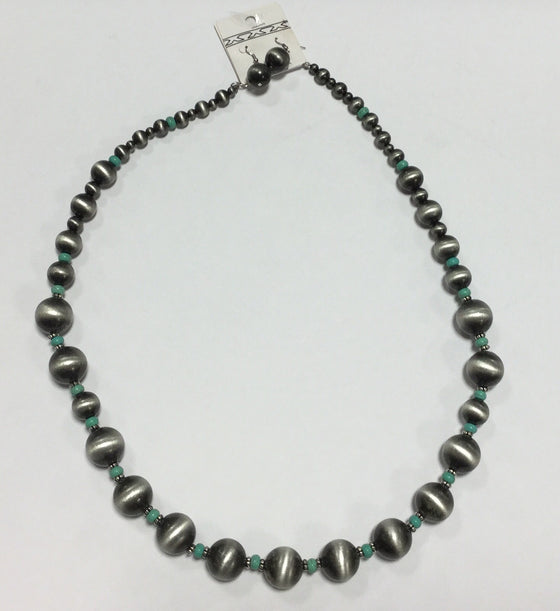 Brushed Silver and Turquoise Beaded Necklace - Kerlin's Western and Work Wear