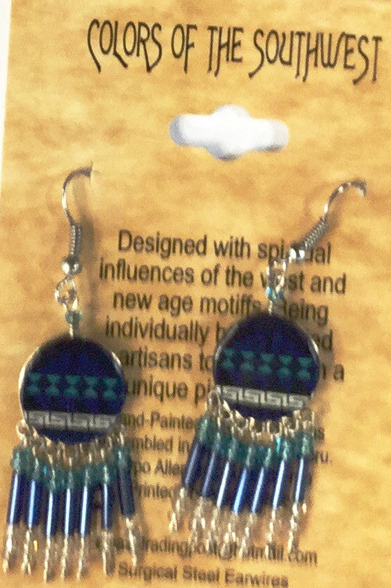 Colors of the Southwest Navy and Turquoise Dangle Earrings - Kerlin's Western and Work Wear