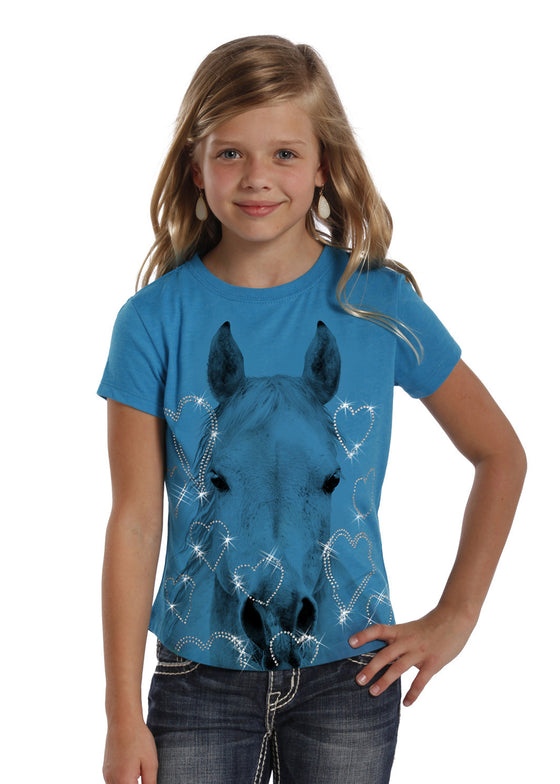 Rock and Roll Cowgirl Horse and Hearts Crew Neck Tee