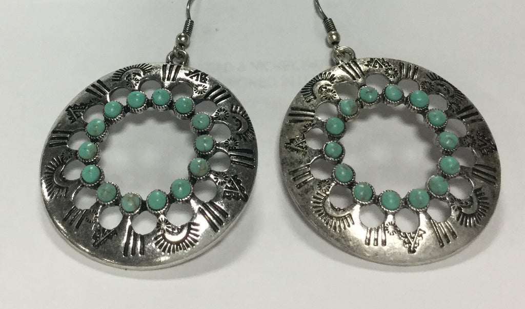 Circle Earrings with Beaded Accents - Kerlin's Western and Work Wear