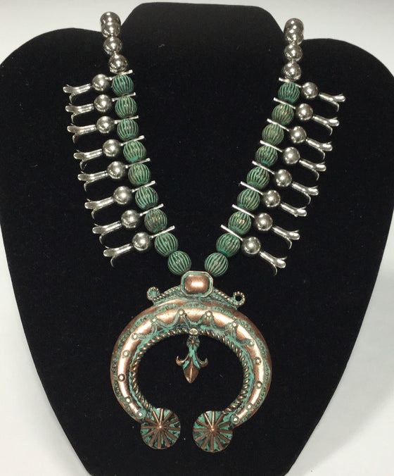 Bronze, Silver and Turquoise Beaded Pendant Necklace - Kerlin's Western and Work Wear