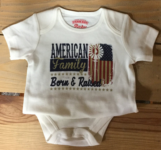 Farm Boy Born & Raised Onesie-Ivory