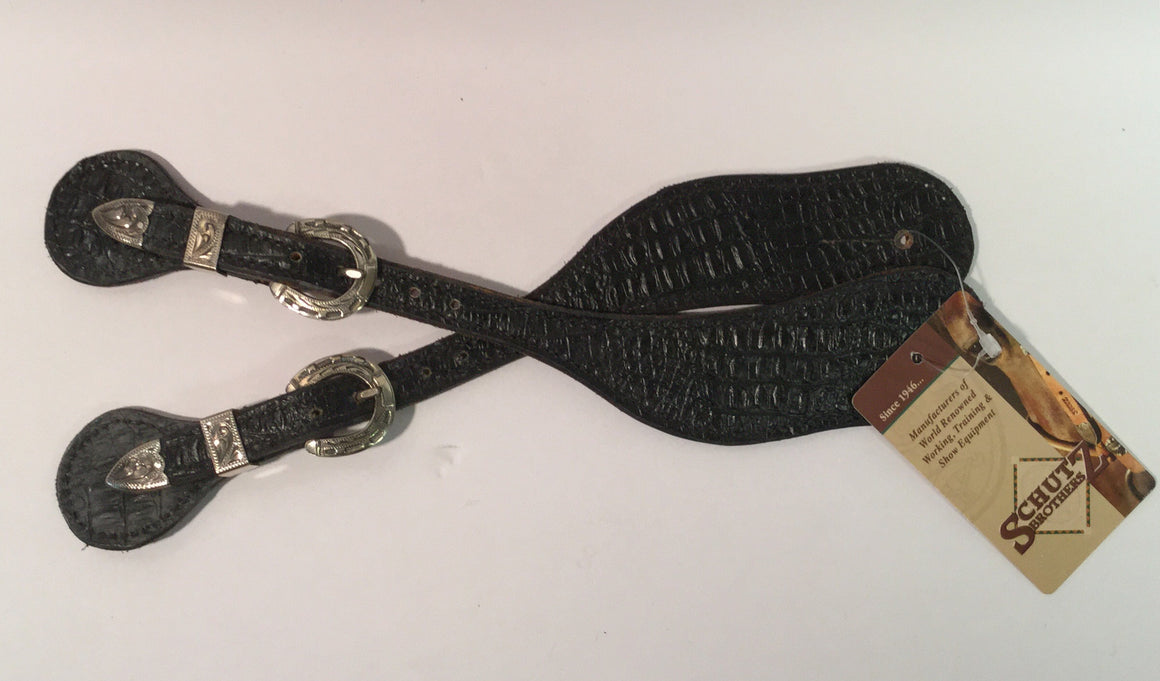 Mens Black Gator Spur Strap - Kerlin's Western and Work Wear  - 1