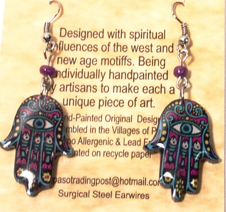 Colors of the Southwest Black/Pink/Turquoise Funky Hand Earrings - Kerlin's Western and Work Wear