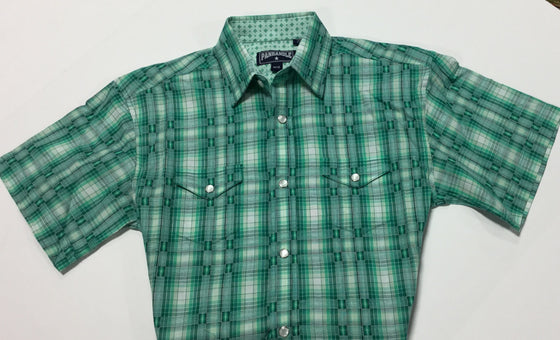 Panhandle Slim Boy's Short Sleeved Plaid Poplin - Kerlin's Western and Work Wear