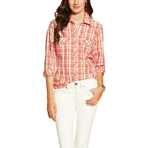 Ariat Womens Shelley Snap Long Sleeve Shirt Pink Plaid - Kerlin's Western and Work Wear
