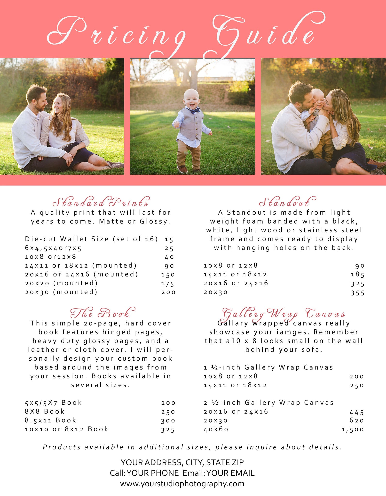 Photographer Price List Photoshop Template – Wedding Price List
