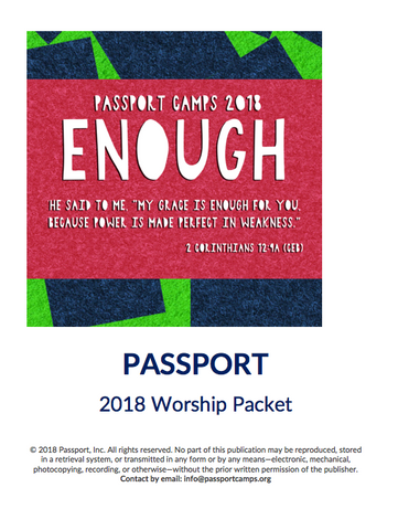 2018 Youth Worship Packet