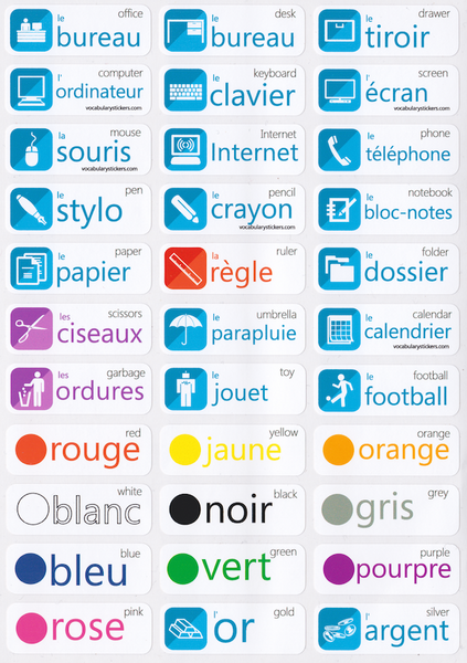 English In Italian: French Language Stickers