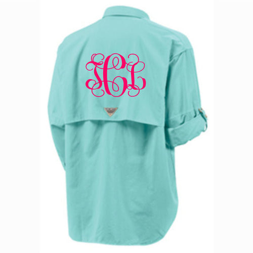Monogrammed Columbia Fishing Shirt PFG Columbia Short Sleeve Fishing Shirt Bathing Suit Swim Suit Cover Up Large Monogram - My Southern Charm
