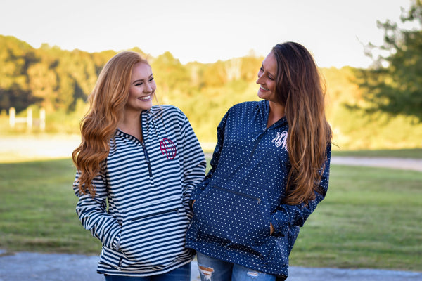 Monogram Charles River Rain Pullover, Lightweight Preppy Striped Jacket Rain Pullover, - My Southern Charm